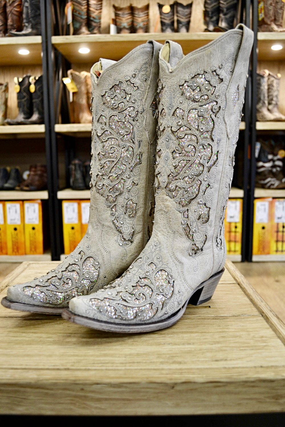 Corral Ladies White Glitter Inlay And Crystals Wedding Boots A3322 ...