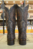 Corral Women's Tobacco Brown Overlay Studded Square Toe Boots G1349