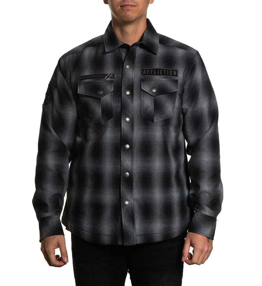 Affliction Men's Falter Flannel Black and Charcoal Jacket 110OW374