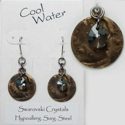 Load image into Gallery viewer, Cool Water of Montana Rustic Sparkles Moon Earrings EW310-49