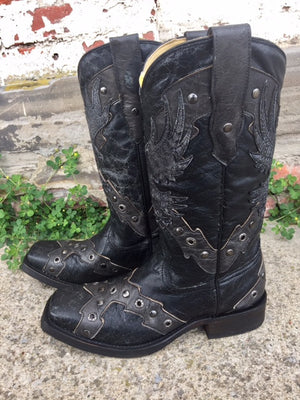 Corral Men's Black On Black Eagle/Southern Cross Overlay Square Toe Boots A3372 - Painted Cowgirl Western Store