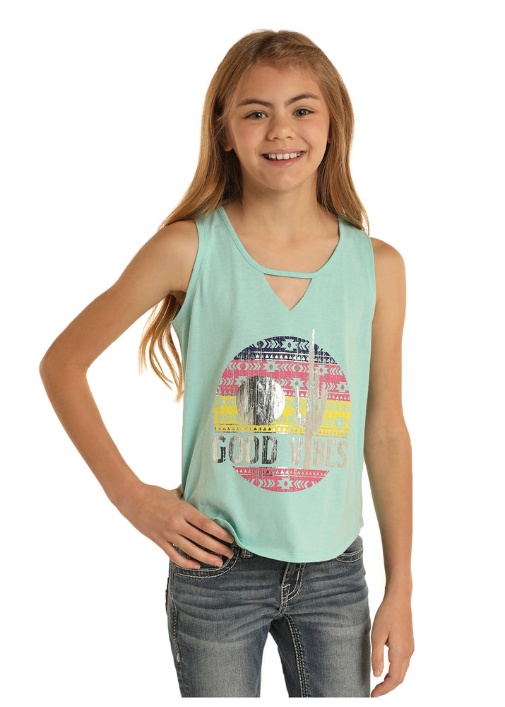 Rock & Roll Cowgirl Girls Good Vibes Turquoise Tank G1-5792 - Painted Cowgirl Western Store