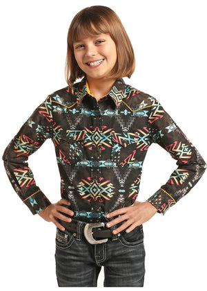 Load image into Gallery viewer, Rock & Roll Cowgirl Black Multi Aztec Print Snap Up Western Shirt G4S2304