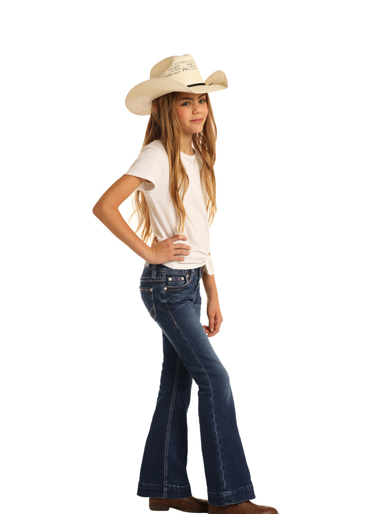 Rock & Roll Cowgirl Girls Dark Wash Trouser Jeans G5F5299 - Painted Cowgirl Western Store