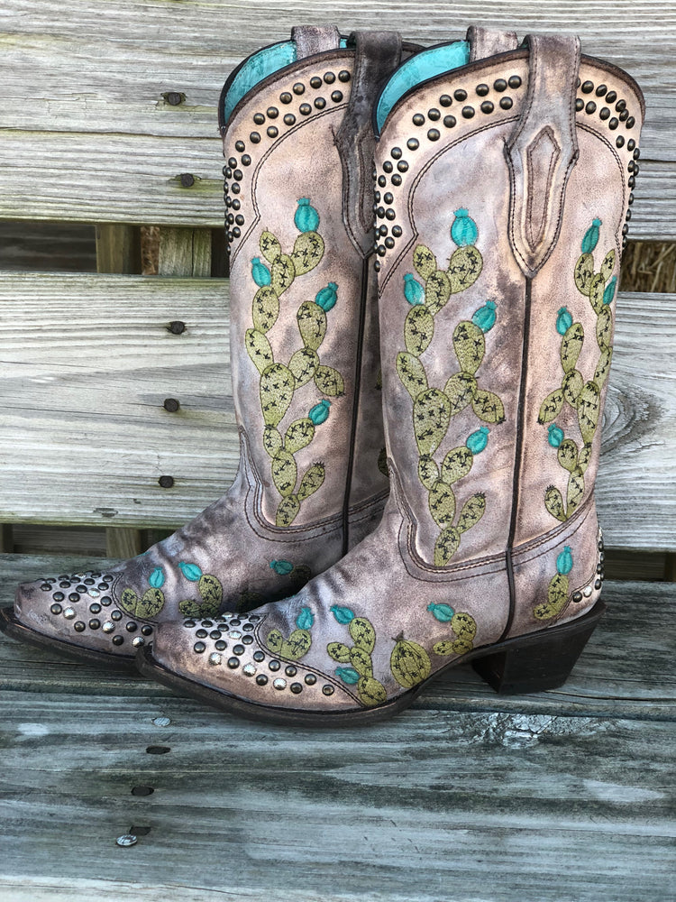 Corral Women's Tobacco Nopal Cactus Studded Snip Toe Western Boots C3464