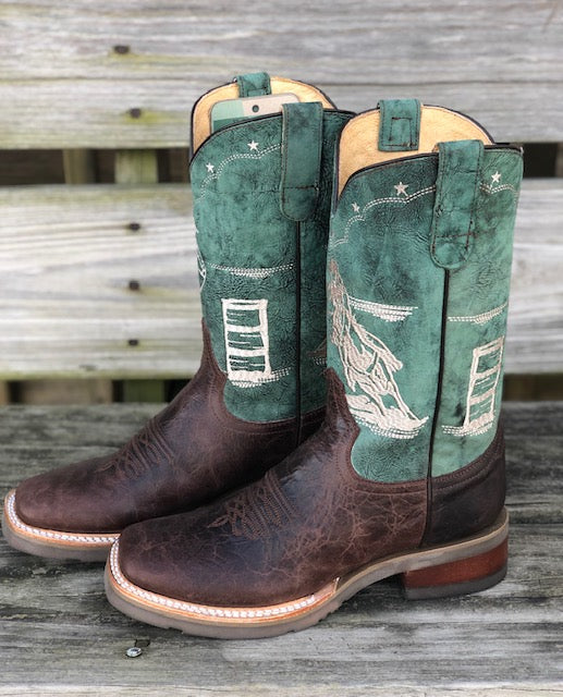 Roper Women's Burnish Brown & Pastel Green Barrel Racer Square Toe Boots 7019-1621 - Painted Cowgirl Western Store