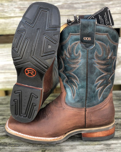 Roper Men's Sidewinder Brown & Midnight Blue Concealed Carry Square Toe Boots 8253-0900
