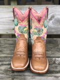 Roper Kids Prickly Tan Cactus Print Square Toe Western Boots 7022-1544