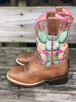 Roper Kids Prickly Tan Cactus Print Square Toe Western Boots 7022-1544 - Painted Cowgirl Western Store