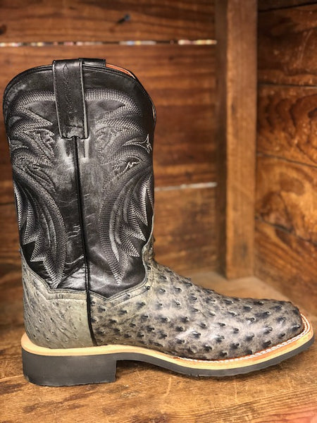 8016ec13ceb Dan Post Men's Philsgood Grey Full Quill Ostrich Square Toe Western Boots  DP3984