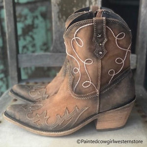 Liberty Black Women's Rope Distressed Brown Snip Toe Booties LB-7129118 - Painted Cowgirl Western Store