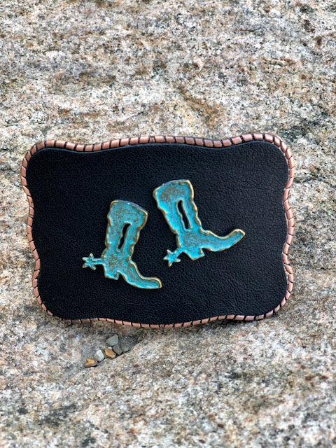 Turquoise Boots on Leather Wallet Buckle - Painted Cowgirl Western Store