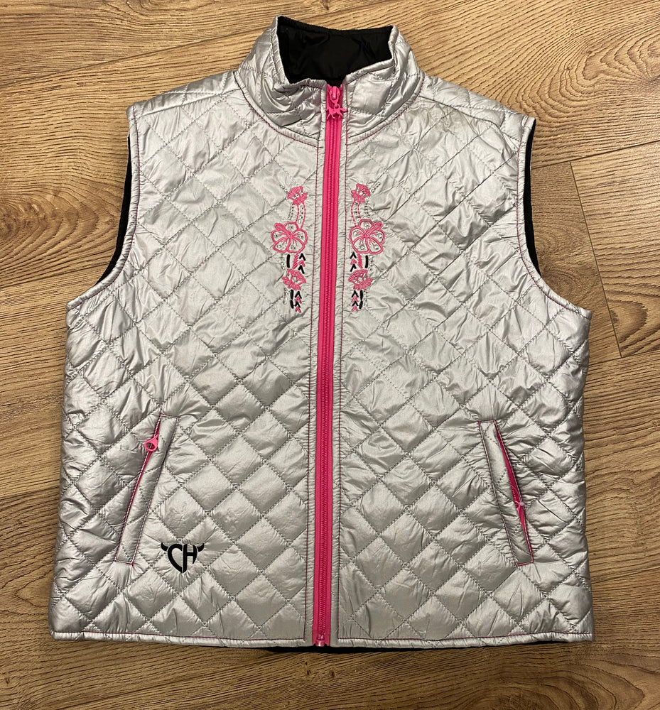 Load image into Gallery viewer, Cowboy Hardware Girl's Floral Horse Design, Silver Quilted Vest 486190-550