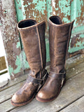 Circle G by Corral Women's Distressed Brown Leather Tall Harness Round Toe Boots P5100