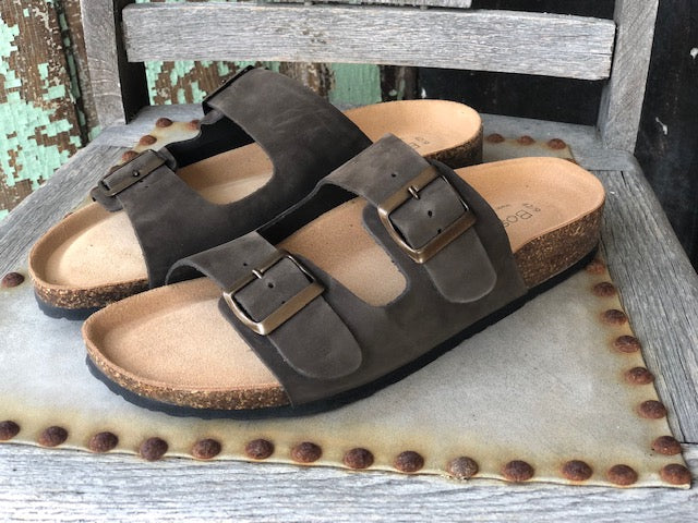 Bos. & Co. Men's Ivan Dark Brown Nubuck Sandals