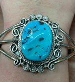 Thunderbird Jewelry Sterling Silver Free-Form Turquoise Cuff Bracelet BR1249T