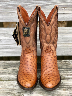 Dan Post Men's Saddle Brown Full Quill Ostrich Round Toe Western Boots DP2323 - Painted Cowgirl Western Store