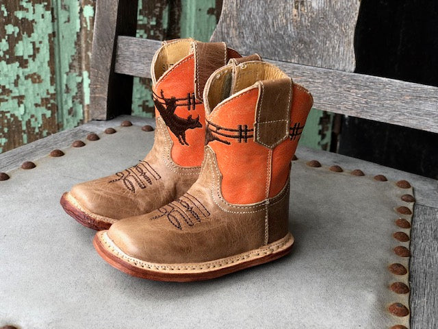 Roper Infant Cowbabies Waxy Tan & Orange Bull Rider Square Toe Boots 7912-1378