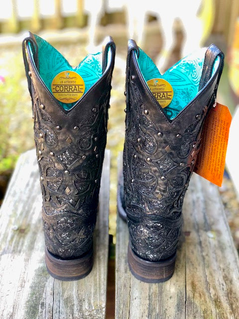 Corral Women's Black & Grey Glitter Inlay Square Toe Western Boots C3404