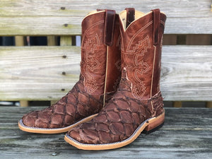 Anderson Bean Men's Brown Big Bass & Burnt Orange Explosion Square Toe Boots 323443