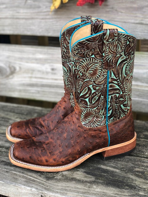 Anderson Bean Women's Sienna Lux Ostrich & Turquoise Jungle Fever Square Toe Boots 323452