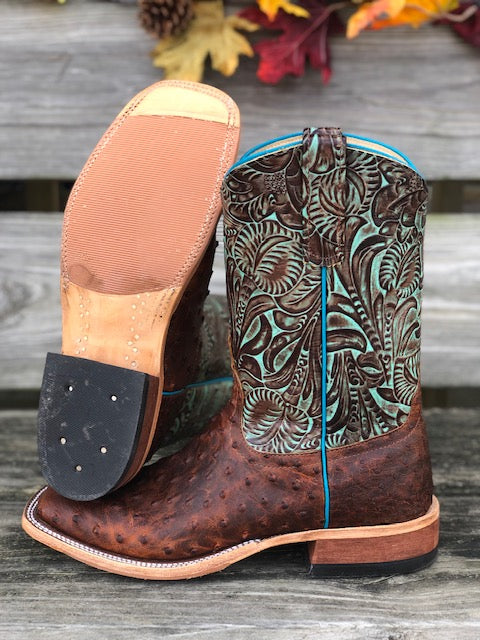Load image into Gallery viewer, Anderson Bean Women's Sienna Lux Ostrich & Turquoise Jungle Fever Square Toe Boots 323452 - Painted Cowgirl Western Store