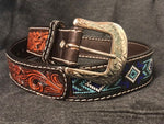 Twisted X Men's Brown Tooled Leather Blue Beaded Belt XIBB101