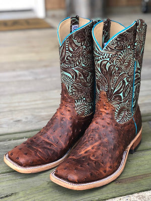 Anderson Bean Women's Sienna Lux Ostrich & Turquoise Jungle Fever Square Toe Boots 323452 - Painted Cowgirl Western Store
