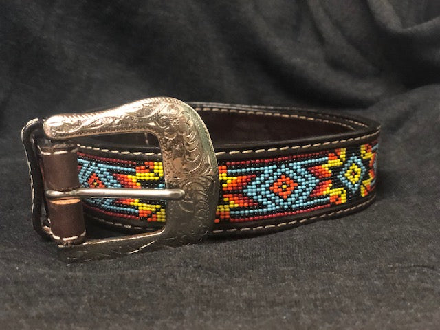 Twisted X Men's Brown Tooled Leather Multi Color Beaded Belt XIBB100