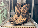 Corral Ladies Chocolate Brown/Tan Sequin Laser Inlay Square Toe Boots C1199