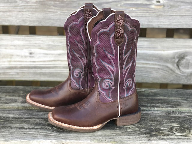 Durango Women's Rebel Pro Plum & Brown Ventilated Wide Calf Square Toe Boots DRD0377 - Painted Cowgirl Western Store