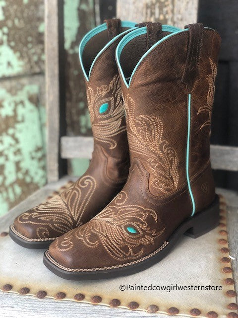 Ariat Women's Bright Eye II Brown Peacock Feather Square Toe Boots 10033983