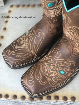 Ariat Women's Bright Eye II Brown Peacock Feather Square Toe Boots 10033983 - Painted Cowgirl Western Store