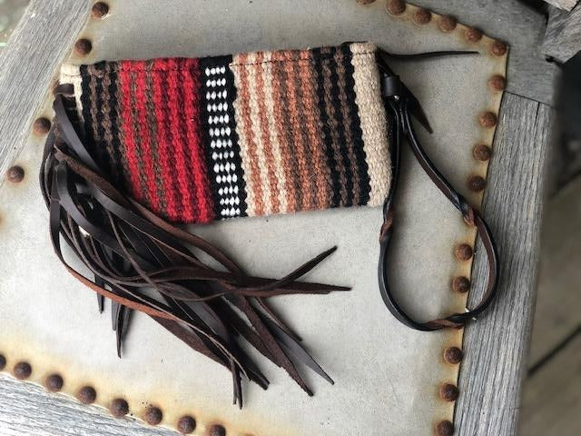 Twisted X Wool Red & Brown Saddle Blanket Wristlet XWLB-159A