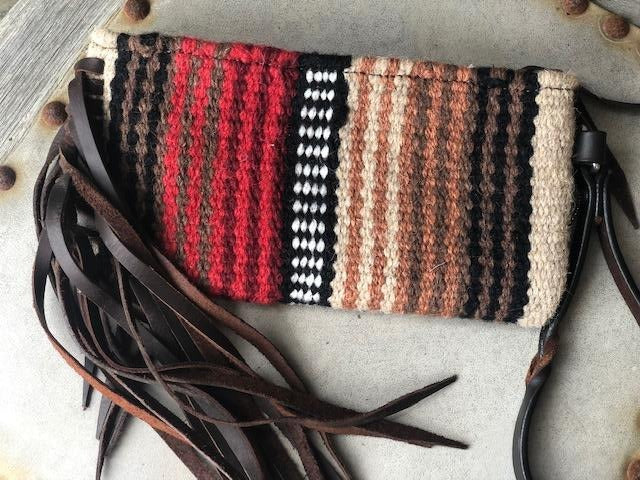 Twisted X Wool Red & Brown Saddle Blanket Wristlet XWLB-159A - Painted Cowgirl Western Store