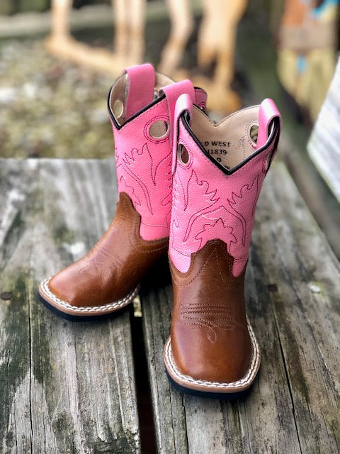 Old West Infant/ Toddler Tan & Pink Square Toe Western Boots BSI1839