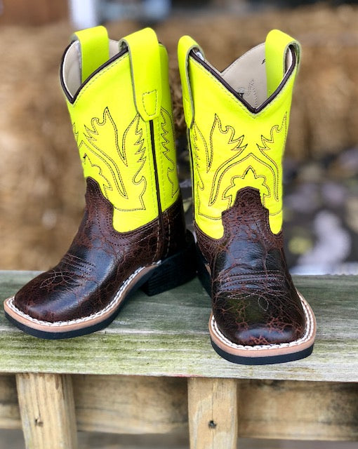 Old West Infant/ Toddler Dark Brown & Neon Yellow Square Toe Western Boots BSI1888