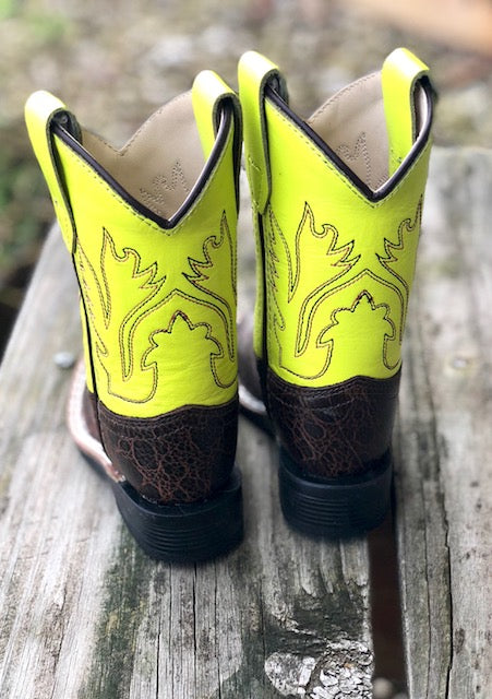 Old West Infant/ Toddler Dark Brown & Neon Yellow Square Toe Western Boots BSI1888 - Painted Cowgirl Western Store
