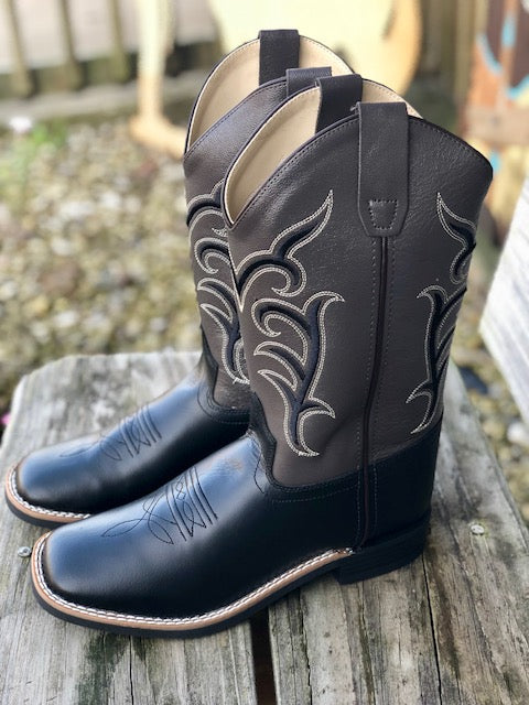 e59a4d55959 Old West Youth Black & Dark Grey Square Toe Western Boots BSC1856 ...