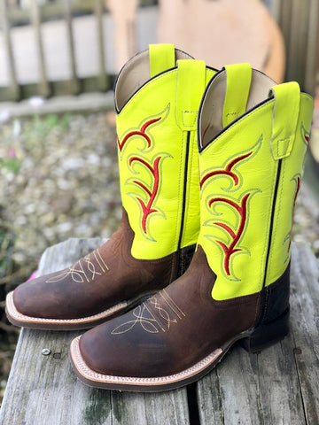 Old West Youth Brown & Neon Yellow Square Toe Western Boots BSC1849 BSY1849