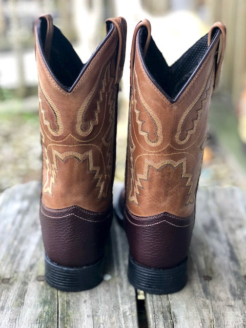 Old West Youth Brown & Tan Ultra Flex Round Toe Western Boots 1936 1936Y - Painted Cowgirl Western Store