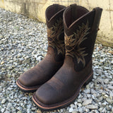 Ariat Mens Workhog Wide Sq Toe Bruin Brown Work Boots 10017436