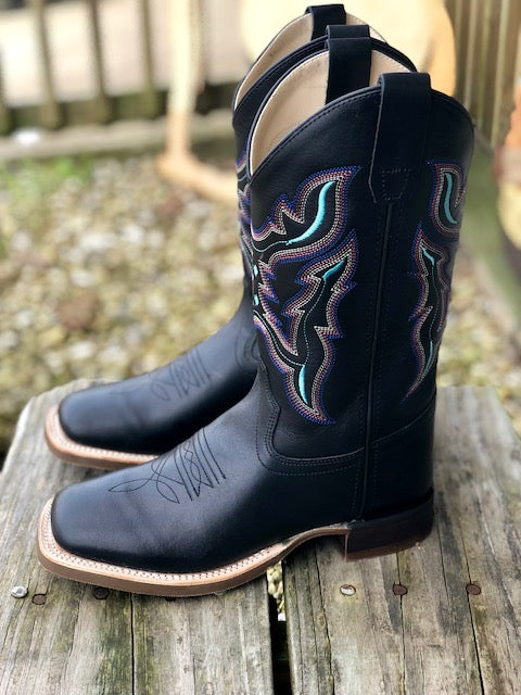 78caf64c74f Old West Youth Black Multi Color Stitch Square Toe Western Boots ...