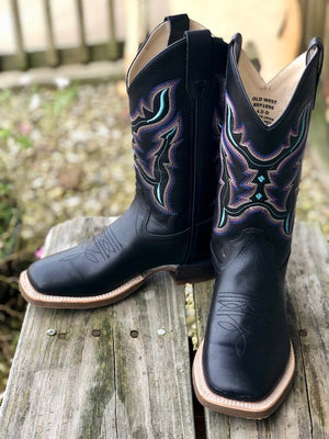 Old West Youth Black Multi Color Stitch Square Toe Western Boots BSC1896 BSY1896 - Painted Cowgirl Western Store