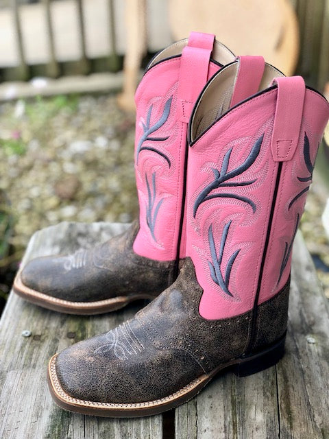 Old West Youth Pink & Distressed Brown Square Toe Western Boots BSC1844 BSY1844