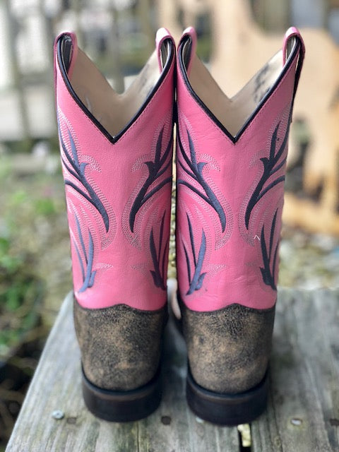 Old West Youth Pink & Distressed Brown Square Toe Western Boots BSC1844 BSY1844 - Painted Cowgirl Western Store