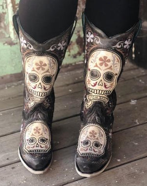 Corral Women's Distressed Charcoal Sugar Skull Snip Toe Western Boots E1587 - Painted Cowgirl Western Store