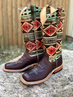 Anderson Bean Women's Rootbeer & Multi Aztec Square Toe Boots 4223M