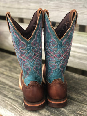 Durango Women's Arena Pro Dark Bay & Caribbean Blue Square Toe Boots DRD0381 - Painted Cowgirl Western Store