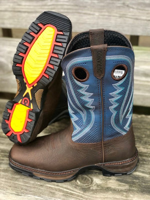 Durango Men's Maverick XP Brown & Blue Jean Square Toe Work Boots DDB0268 - Painted Cowgirl Western Store